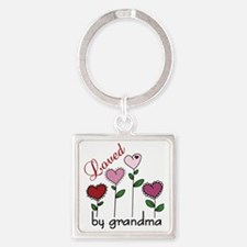 Loved By Grandma Square Keychain