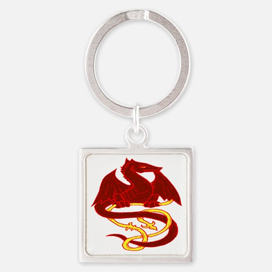 Red Dragon 2 Square Keychain