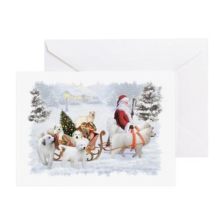Great Pyrenees and Santa Greeting Card