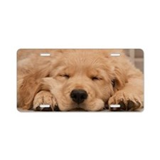 Golden Retriever Puppy Aluminum License Plate