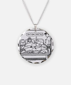 Yes? Can I Help You? Necklace Circle Charm