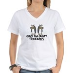 Crazy Penguins Women's V-Neck T-Shirt