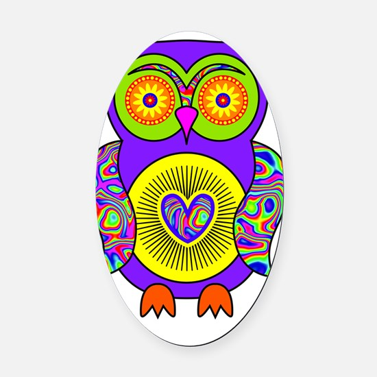 Purple Psychedelic Owl Oval Car Magnet