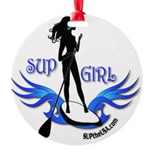 SUP GIrl Paddleboarder Ornament