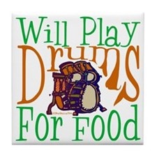 Will Play Drums Tile Coaster