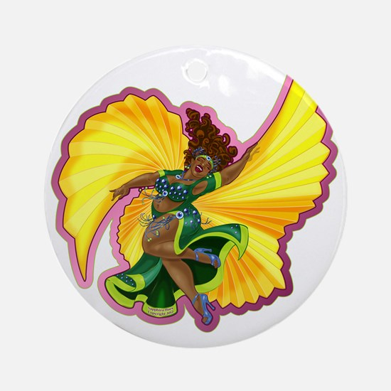 Big-n-Beautiful Winged Belly Dancer Round Ornament