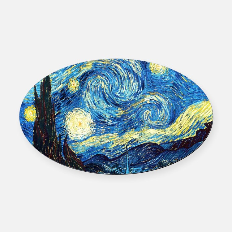 Starry Night Oval Car Magnet
