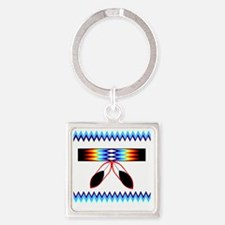 NATIVE AMERICAN BEADED STRIP Square Keychain