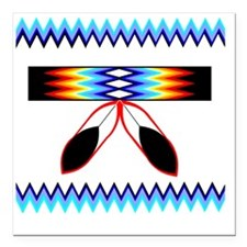 "NATIVE AMERICAN BEADED S Square Car Magnet 3"" x 3"""