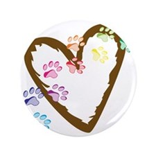 """Paw Heart 3.5"""" Button"""