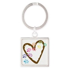 Paw Heart Square Keychain