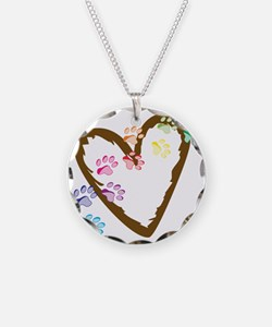 Paw Heart Necklace Circle Charm