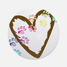 Paw Heart Round Ornament