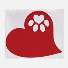 Dog Paw Heart Throw Blanket