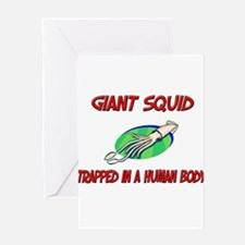 Giant Squid trapped in a human body Greeting Cards