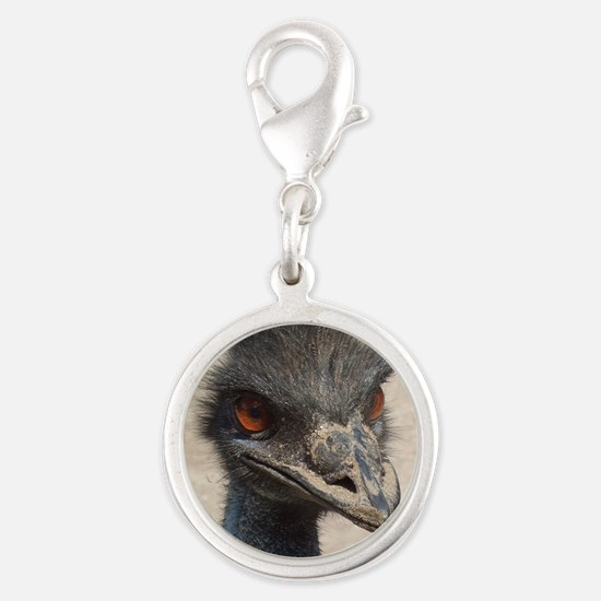 Angry Ostrich Silver Round Charm