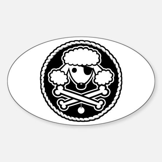 PoodlePirate-2cl Oval Decal