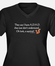 ADHD Squirrel Women's Plus Size V-Neck Dark T-Shir