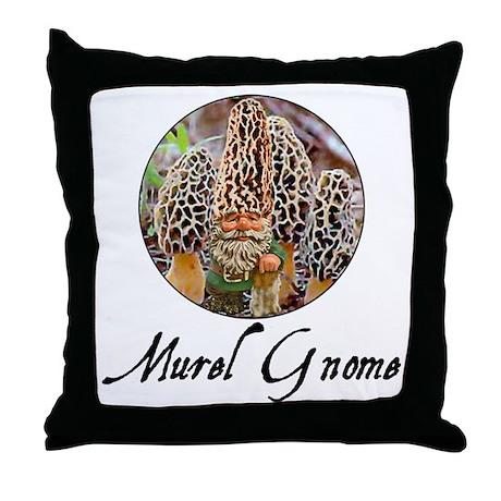 the morel gnome Throw Pillow