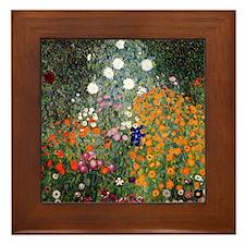 Gustav Klimt Flower Garden Framed Tile