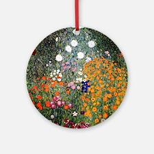 Gustav Klimt Flower Garden Round Ornament