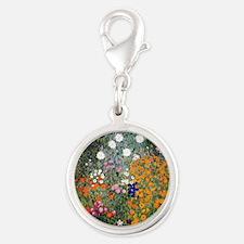 Gustav Klimt Flower Garden Silver Round Charm