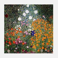 Gustav Klimt Flower Garden Tile Coaster