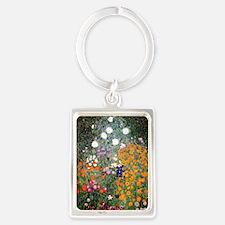 Gustav Klimt Flower Garden Portrait Keychain