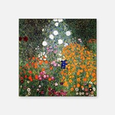 "Gustav Klimt Flower Garden Square Sticker 3"" x 3"""