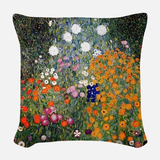Gustav Klimt Flower Garden Woven Throw Pillow