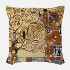 Gustav Klimt Tree Of Life Woven Throw Pillow