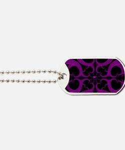 Purple and Black Goth Heart Pattern Dog Tags