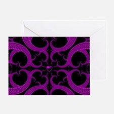 Purple and Black Goth Heart Pattern Greeting Card