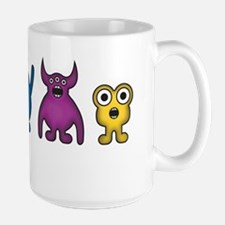 Kawaii Rainbow Alien Monsters Large Mug