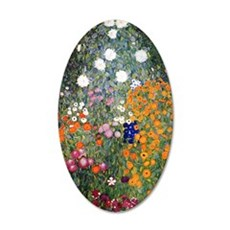 Gustav Klimt Flower Garden 35x21 Oval Wall Decal