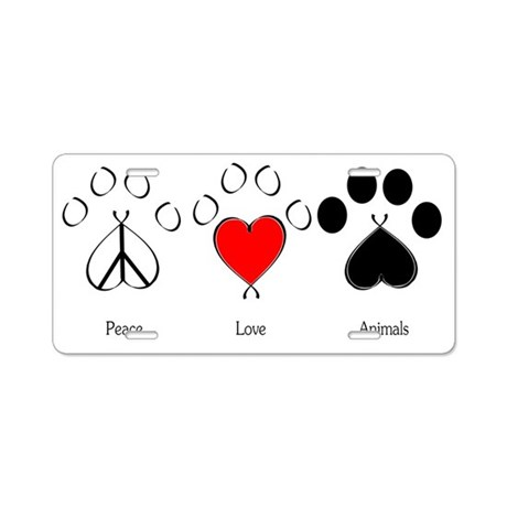 Peace Love Animals Aluminum License Plate