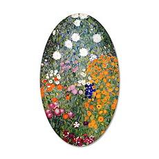 Gustav Klimt Flower Garden 35x21 Oval Wall Decal