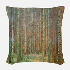 Gustav Klimt Pine Forest Woven Throw Pillow