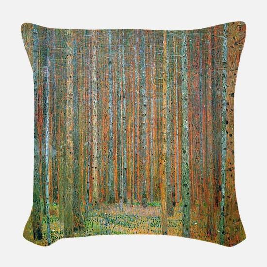 Gustav Klimt Pine Forest Woven Throw Pillow
