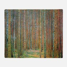 Gustav Klimt Pine Forest Throw Blanket