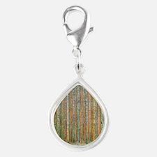 Gustav Klimt Pine Forest Silver Teardrop Charm