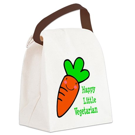 Happy Little Vegetarian Canvas Lunch Bag