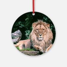 Lazy Lion Round Ornament