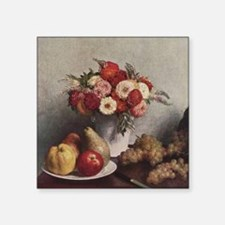 """Fruit and Flowers Square Sticker 3"""" x 3"""""""