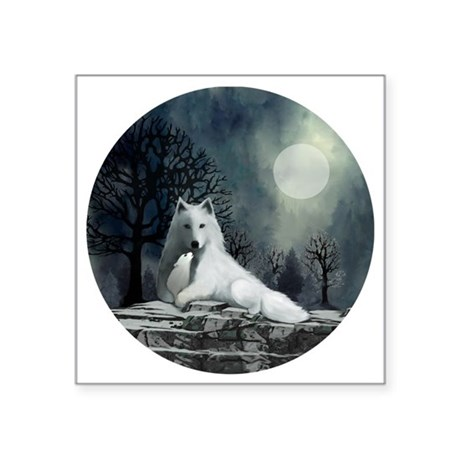 "White Wolf and Pup Square Sticker 3"" x 3"""