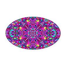 Hippie Purple Mandala Pattern Oval Car Magnet
