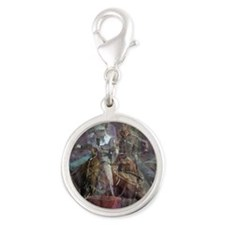Barrel Racing Competition Silver Round Charm