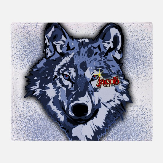 Twilight Indigo Jacob Wolf Throw Blanket