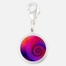 Psychedelic Pink Rainbow Fract Silver Round Charm
