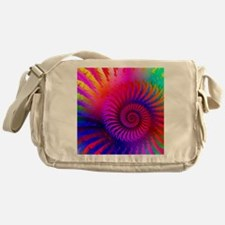 Psychedelic Pink Rainbow Fractal Art Messenger Bag